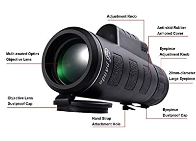 ALOOK 35X50 Single Tube Low Light Night Vision High Definition Wide-Angle Monoculars