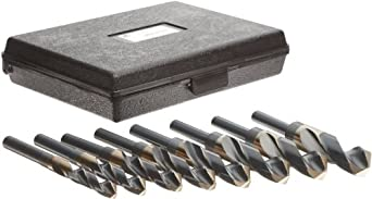 "Precision Twist C8R56CO Cobalt Steel Reduced Shank Drill Bit Set with Metal Case, Black and Gold Oxide Finish, Round Shank, 118 Degree Split Point, 8 piece, 9/16"" 1"" x 16ths"