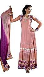 Anvi Creations Peach Georgette Princess Cut Anarkali Dress Material (Peach_Free Size)