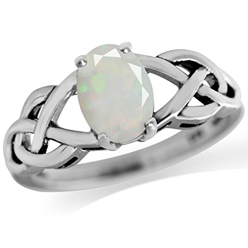Genuine Opal Antique Finish 925 Sterling Silver Celtic Knot Solitaire Ring Size 10