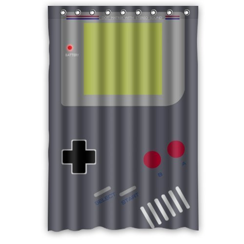 Best Funny Style cool Gameboy Shower Curtain, Shower Rings Included 100% Polyester Waterproof 48