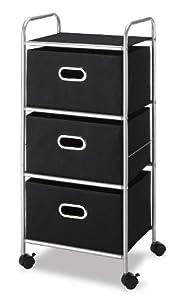 Whitmor 6705-3871-BLK-BB Three Drawer Cart with Black Polypropylene Drawers