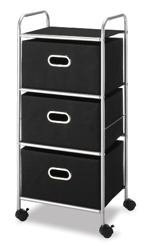 Whitmor 3-Drawer Chest Cart, Silver and Black