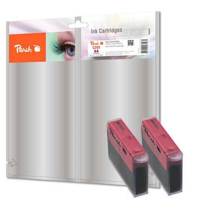 Peach C201 m Doppelpack Tintenpatronen, kompatibel zu Canon, Xerox, Apple BJI-201 m, magenta