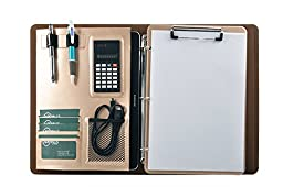 Business 3 Ring Binder Portfolio with Clipboard and Calculator, Beige