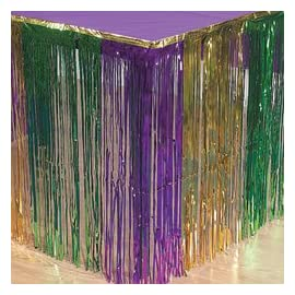 MARDI GRAS METALLIC FRINGE TABLE SKIRT