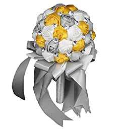 PGS?Wedding Bouquet ,Bride Holding Flowers, Handmade Flowers?White & Yellow