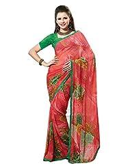 Indian Designer Sari Pretty Floral Printed Faux Georgette Saree By Triveni