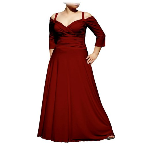 Evanese Women'S Plus Size Elegant Long Dress With 3/4 Sleeves (3X. Wine)