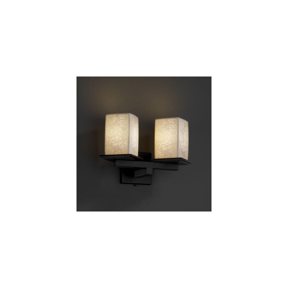 Justice Design Group POR 8680 15 LEAF MBLK Limoges 2 Light Wall Sconces in Matte Black