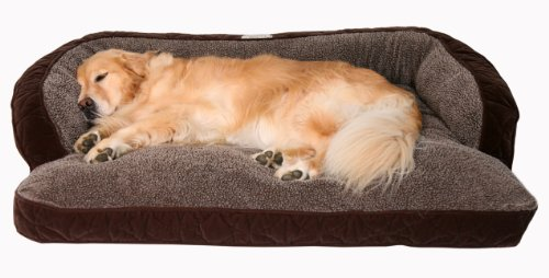 Floppy-Ears-Design-Microfiber-and-Fleece-Surround-Bolster-Dog-Bed