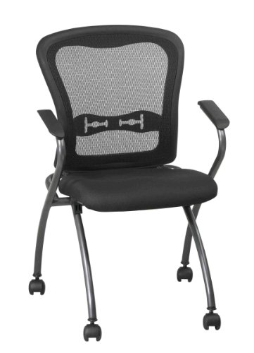 Office Star Deluxe Folding Chair with ProGrid Back, Arms, Casters and Titanium Finish (2-Pack)