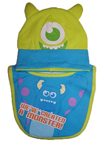 "Disney Monsters University ""Monster"" Lime Infant Hat And Bib Set [5011] - 1"