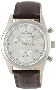 Lucien Piccard Men's LP-11570-02S Eiger Chronograph Silver Dial Brown Leather Watch from Lucien Piccard