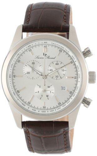 Lucien Piccard Men's LP-11570-02S Eiger Chronograph Silver Dial Brown Leather Watch