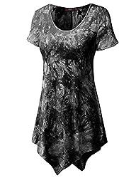 Doublju Women Short Sleeve Scoop Neck All Over Tie-dye Tunic Top