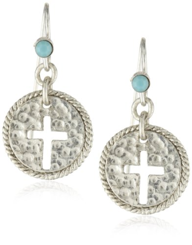 The Vatican Library Collection® Delicate Inspirations Silver-Tone Turquoise Bead Cross Earrings