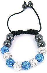 Shamballa Inspired 10mm Crystal Beads Kids Children Bracelets Blue and White Beads