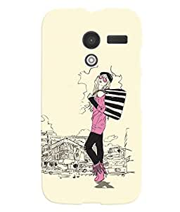 Fuson Shopping Girl Back Case Cover for MOTOROLA MOTO X - D3795