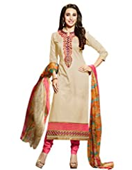 Desi Look Women's Beige Cotton Patiyala Dress Material With Dupatta - B0196AL0US