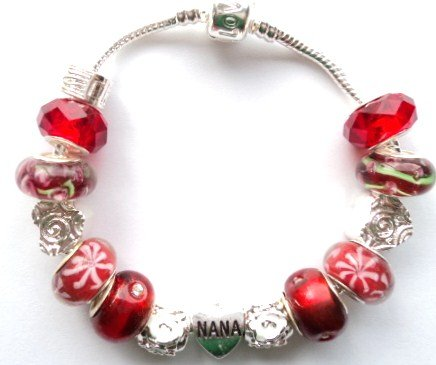 Nana/Heart Red Charm Bracelet - 20cm Silver Plated Bracelet Ideal Birthday/Christmas/Valentine/Mother's Day Gift