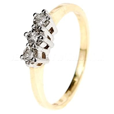 0.25ct Diamond 9ct Gold Trilogy Ring