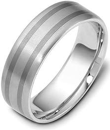 buy 6.5Mm Titanium & 14 Karat White Gold Wedding Band Ring - 11.5