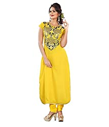Priyanshu Creation Women's Georgette Yellow Dress Material