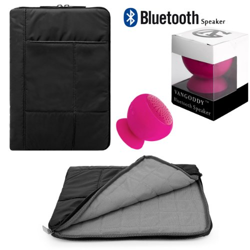 Pillow Zippered Sheen Quilted Sleeve [BLK] For Hipstreet 10 / Quad Core / Equinox 10.1/ HP Slate 8 Plus, Pavilion 10 x2, 10 G2 Tablets + Speaker