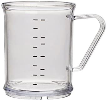 """Carlisle 431507 Polycarbonate Measuring Cup, 9.6 oz. Capacity, 3 x 3.74"""", Clear (Case of 6)"""