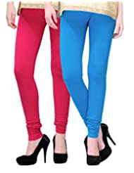 2Day Women's Cotton Churidaar Legging Fushia/Turquise (Pack Of 2)