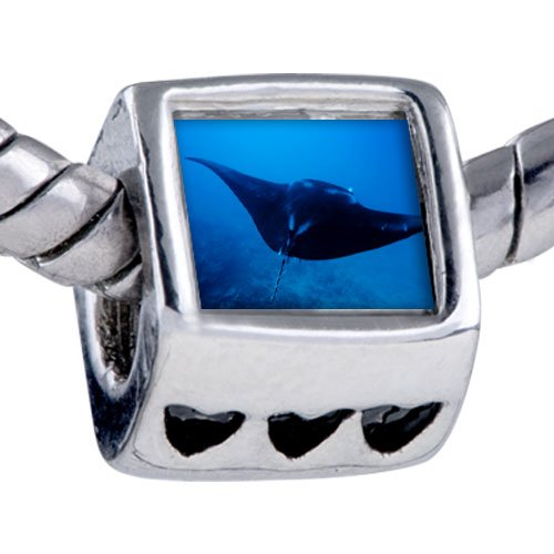 Pugster Silver Plated Photo Bead Ocean Stingray Beads Fits Pandora Bracelet