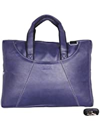 Handcuffs Stylish Office Bag For Men's 16' Inch Blue Color Leather Laptop Bag