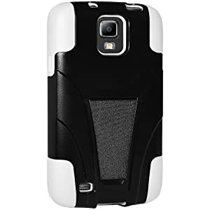 Amzer AMZ95961 Double Layer Hybrid Case Cover with Kickstand for Samsung Galaxy S4 Active GT-I9295 - Retail Packaging - White/Black