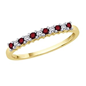 Prong Set Alternating Ruby and Diamond Ring in 10K Yellow Gold (0.13 cttw) from Katarina