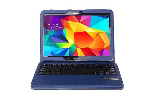 Moko Samsung Galaxy Tab 4 10.1 / Tab 4 Nook 10.1 2014 Case - Wireless Bluetooth Keyboard Cover Case Stand, Indigo (With Smart Cover Auto Wake / Sleep. Will Not Fit Samsung Galaxy Tab 3 10.1)