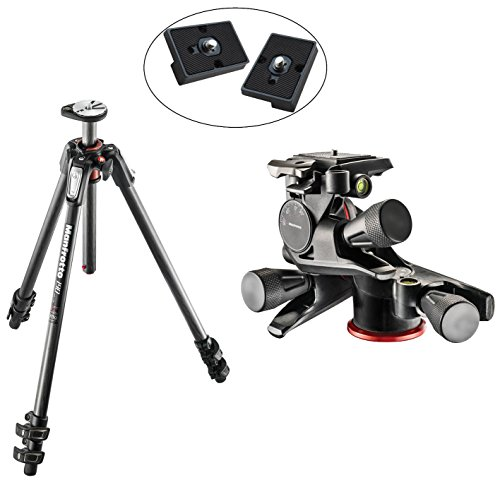 Manfrotto MT190CXPRO3 3 Section Carbon Fiber Tripod Kit with MHXPRO-3WG XPRO Geared Head with Two Replacement Quick Release Plates for the RC2 Rapid Connect Adapter