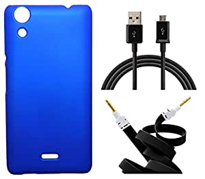 XUWAP Hard Case Cover With Aux Cable & Data Cable For Micromax Canvas Selfie 2 Q340 - Blue