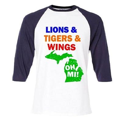 Lions Tigers Wings Oh MI Raglan Baseball T-Shirt