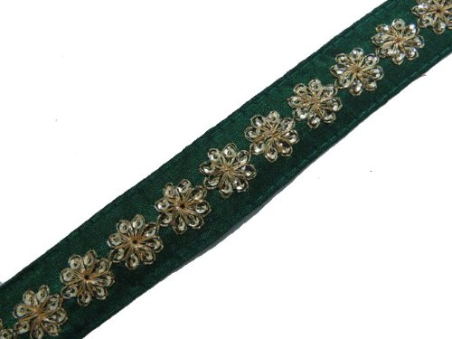 1 Y Thin Green Base Gold Sequin Ribbon Trim Lace Sewing Craft New