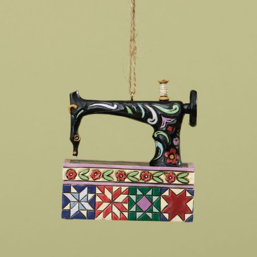 Jim Shore for Enesco Heartwood Creek Vintage Sewing Machine Ornament, 3-Inch