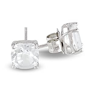 Sterling Silver 6mm Cushion White Topaz Solitaire Earrings