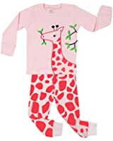 "Elowel Little Girls ""Giraffe"" 2 Piece Pajama Set 100% Cotton (Size6M-8Y)"