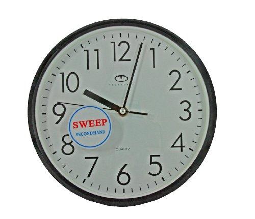 Black Quartz Wall Clock W Quiet Sweep Second Hand New