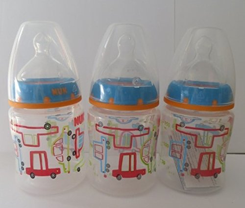 NUK Cars Orthodontic Slow Flow Bottle 3pk 5oz (150 ml), Newborn+ - 1