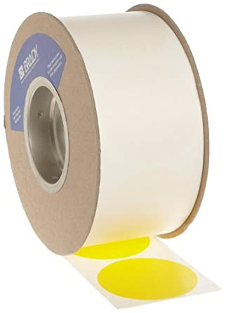 "Brady 3"" Diameter, B-933 Vinyl Tape, Yellow Color Roll Mounted Dots for Aisle Marking (1000 Dots Per Roll)"