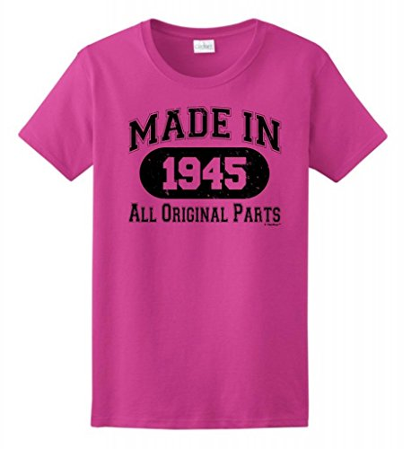 70Th Birthday Gift Made 1945 Original Distressed Ladies T-Shirt Medium Heliconia