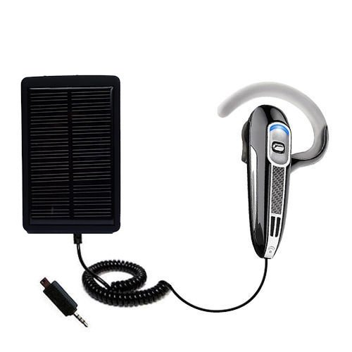 Solar Powered Rechargeable External Battery Pocket Charger for the Plantronics Voyager 520 - uses Gomadic TipExchange Technology