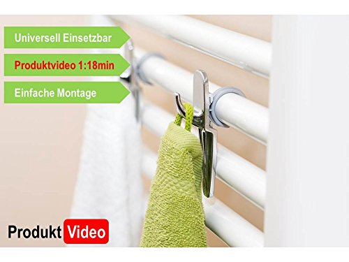 Towel holder 2pc Set - universal Radiator Towel Rail Hooks for Round Pipes - colour withe (Towel Hook Radiator compare prices)