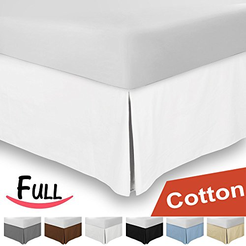 Combed Cotton Sateen Full Bed-Skirt White - 100% Finest Quality Long Staple Fiber - Durable, Comfortable & Abrasion Resistant, Quadruple Pleated, Cotton Blended Platform - By Utopia Bedding
